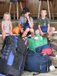 2007: The sum total of our possessions: three kids and 11 bags (not all pictured.)