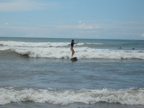 Think you could never surf? Think again - here I am surfing In Costa Rica - I'm heaps better now (she lied)