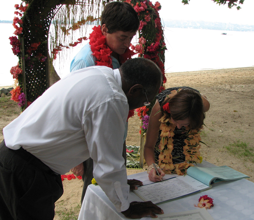 Annabel Candy Signing the marriage certificate