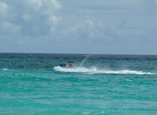 Letting rip on a jet ski in Barbados