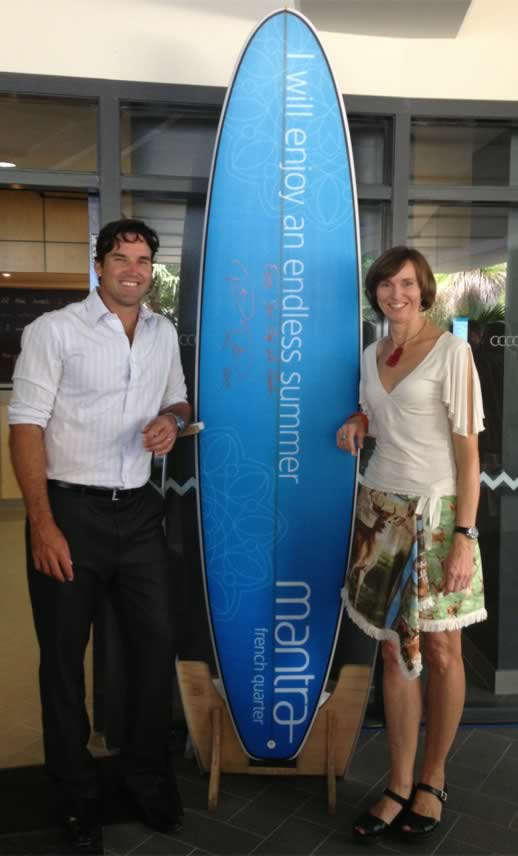 Pat Rafter Annabel Candy at Noosa Mantra opening