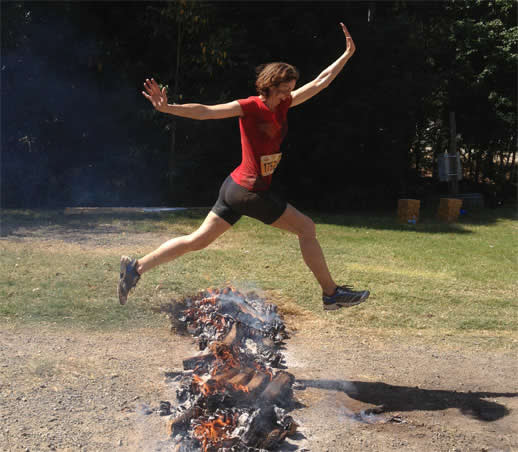 obstacle race fire jump