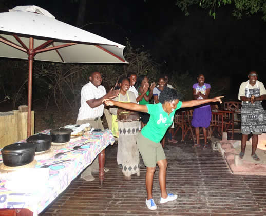 Kanga Camp staff get jiggy with a traditional music and dance show