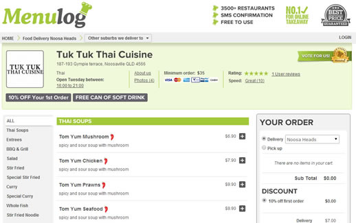 tuk tuk thai noosa takeaway menu