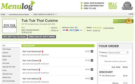tuk tuk thai noosa takeaway menu