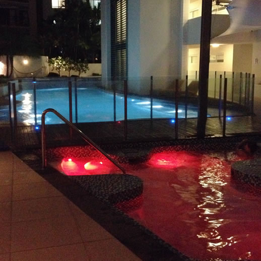 rumba resort caloundra pool by night