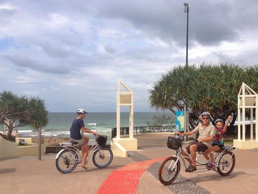 kings beach caloundra by electric bike