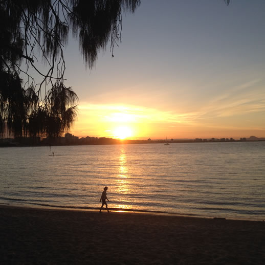 mooloolaba spit sunset walker