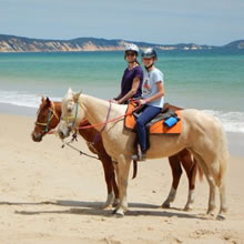 Horse-riding on Rainbow Beach